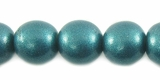 Metallic  Turquoise Round Wood Beads 10mm