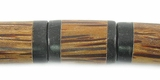 Black Horn Inlaid Cylindrical Palmwood Beads