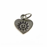 Thai Silver Heart/Sun  Pendant 13x16mm
