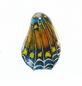Blue-yellow Dots Butterfly Wing Paper Print Wrapped Wood Pendant