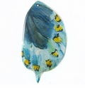Turquoise Butterfly Wing Paper Print Wrapped Wood Pendant
