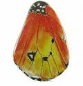 Yellow Orange Butterfly Wing Paper Print Wrapped Wood Pendant