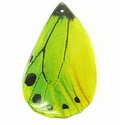 Yellow-green Butterfly Wing Paper Print Wrapped Wood Pendant