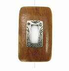 Rectangular Metal Framed Bayong Wood Pendant