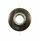 Round Metal Framed Tiger Ebony Wood Pendant