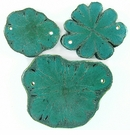 Turqouise Green Sunflower Wood Pendants 54x40x3.5mm