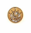 """Wooden Round Charm """"Peace"""" Pendant"""