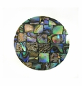 Paua (Blocking On Black) Round Shell Pendant 30mm