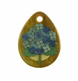 Drop Wood Pendant - Hydrangaea Flower Design
