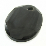 Black Faceted Oval Horn Pendant