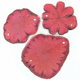 Pink Sunflower Wood Pendants 54x40x3.5mm