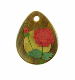 Drop Wood Pendant - Rose Flower Design