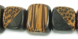 Black Horn Inlaid Cube Palmwood Beads 13mm