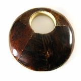 Brown Round Banana Inlaid  Wood Pendant