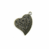 Metalcast Brass Hammered Heart Charm