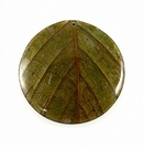 Round Coco Green Leaf Inlay Pendant