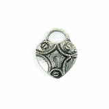 Metalcast Antique Silver Heart Lock Charm