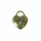 Metalcast Brass Heart Lock Charm