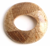 Natural Round Banana Inlaid Wood Pendant