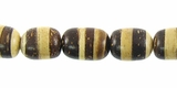 Brown/White Oval Coco Beads 8mm