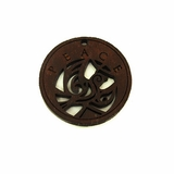 "Wooden Round Charm ""Peace "" Pendant"