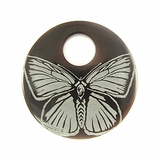 "Laser-etched Round ""Butterfly"" Tab Shell Pendant"