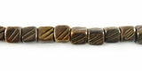 Burnt Horn Grooved Dice Beads 6mm