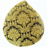Teardrop Black Pen Shell Gold Lace Design Laser Engraved Pendant