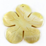 Mother Of Pearl Carved Flower Shell Pendant 40mm