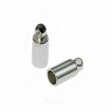 Silver Plated Tube Cord End Caps 1.8mm
