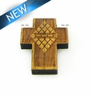 Mahoganny Wood Cross Laser Designed 22x17x3.5mm