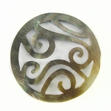 Blacklip Round Carved Shell Pendant