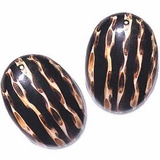 Oval Earrings With Stripes