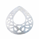 "Carved Makabibi Shell ""Center-Hole Teardrop"" Pendant"