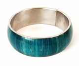 Metal Bangle Electric Blue Corn Inlay Straight Design