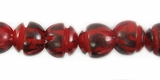 Unpolished Red Buri Carved Beads 10mm