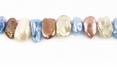 Mixed Blue/Beige/Brown Keshi Pearls ~7x10-5x8mm