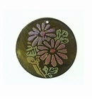 Olive Green Capiz Shell Round Laminated Daisy Flower 30mm