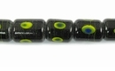 Green Oval Print Black Rectangle Lampwork Glass Beads