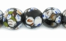 White-Spotted Black Lampwork Glass Beads