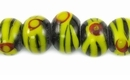 Black and Yellow Round Lampwork Glass Beads