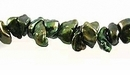Metallic Green Keshi Pearls  6-7mm