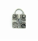 Antique Silver Square Lock Charm