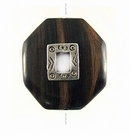 Octagonal Metal Framed Tiger Ebony Wood Pendant