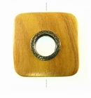 Rounded Square Metal Framed Nangka Wood Pendant