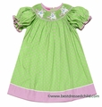 Claire & Charlie Girls Green / Pink Dots Smocked Easter Bunny Dress - Bishop