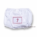 Secret Wishes Baby Girls White Diaper Cover / Bloomers - Smocked Christmas Candy Cane