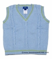 Cotton Blu Boys Blue Cable Knit V-Neck Sweater Vests