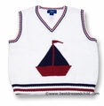 Cotton Blu Boys White V Neck Sweater Vest with Navy Blue / Red Sailboat
