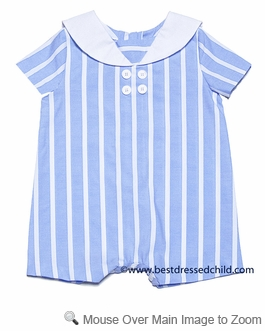 Frankie by Luli & Me Baby Boys Blue Striped Sailor Suit Bubble
